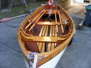 14' classic wooden hand crafted row boat with oars, cover, etc
