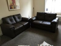 REDUCED....Dark Brown pair of Leather Sofa's