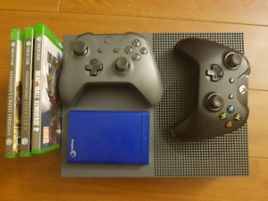 LE Grey Xbox One S + 16 games + 2 Controllers + 6 month XB Live