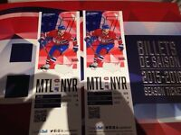 2 billets match ouverture Montreal vs New York 15-10-15