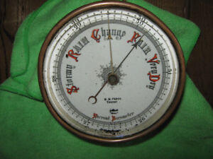 100 year old Brass Wall-mount Aneroid Barometer
