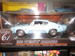 1969 Plymouth Barracuda Blue 1:18 Scale Hwy61/DCP NIB