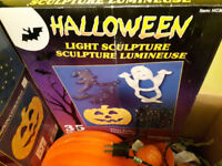 BOX FULL OF HALLOWEEN DECORATIONS AND LIGHTS