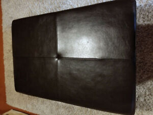 Large Real Leather Ottoman with Storage