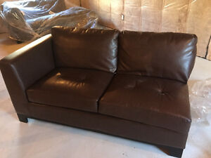 Selling a Brown Leather Sectional with Ottoman