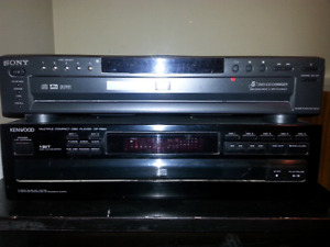 Two Sony and Kenwood multi disc players