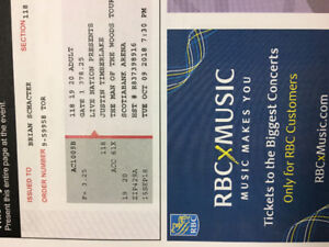Justin Timberlake Concert Tickets for sale