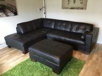 Leather corner sofa and storage pouffe