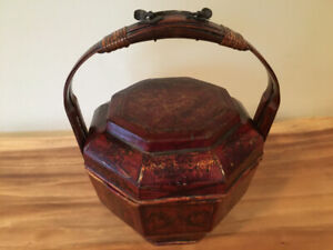 Antique Asian Wedding / Food Basket with Lid