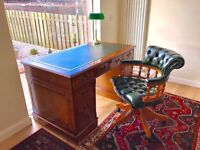 Leather topped yew partners desk