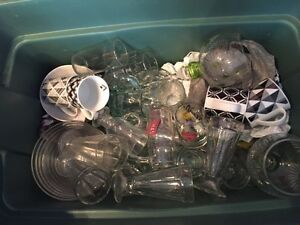 Assorted glass wear/white plates/bowls.