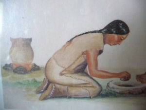 "Iroquois Artist Lithograph, Ernest Smith ""Making SunFlower Oil"" Stratford Kitchener Area image 5"