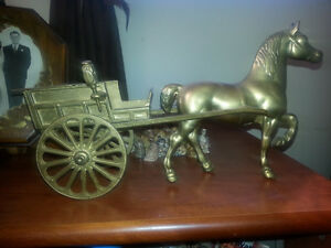 brass horse and buggy
