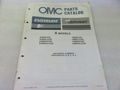 PM64 1987 OMC Evinrude Johnson 4 Models OEM Parts Catalog Manual P/N 398615
