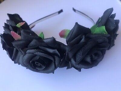 Women BIG BLACK flower Halloween Bride Party Hair Headband Crown Prop Garland