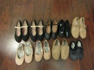 Jazz, tap, ballet, and character shoes
