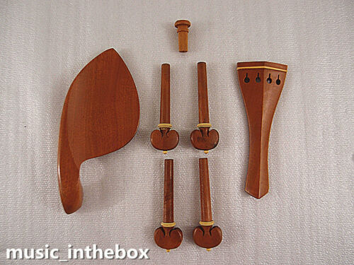 New 4/4 Violin Boxwood Accessories Set - Pegs/Endpin/Tailpiece/Chinrest #BX-01