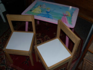 Childs wooden table and chairs