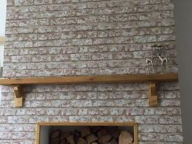 Rustic pine mantle, mantelpiece