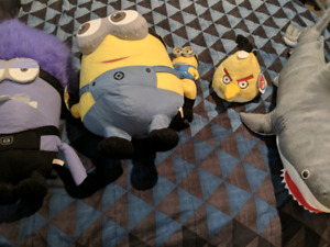 Large Stuffed Despicable Me, Angry Birds, and a Shark