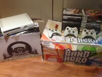 xbox 360 + volant + kit band hero + jeux