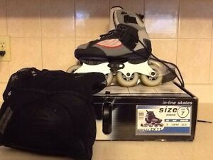 Barely used in-line skates and protective guards Cambridge Kitchener Area image 1