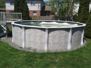 Above ground swimming pool 18 feet, with pump and steps $200