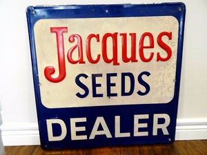 1982 JACQUES SEEDS SIGN Vintage Hybrids Corn DEALER Metal Farm