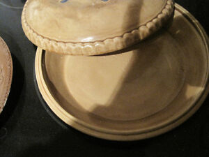 Baking dishes, ceramic pie caddy and marble rolling pin