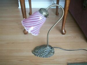 Lamp with pink/rose glass shade