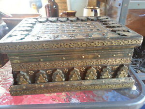 Brass inlaid wooden box