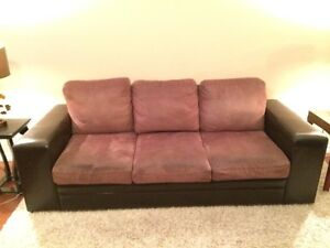 Faux suede and leather couch, chair, ottoman