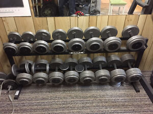 Dumbbell set - weights 10-100lbs with rack