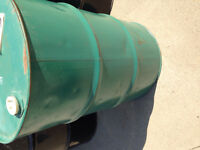 45 gallon drums, good for burning barrels, also have plastic