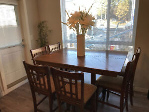 MODERN OAK COUNTER HEIGHT DINING SET (8 CHAIRS) (Moving)