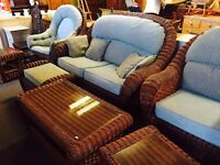 As new top of the range 7 pice wicker sofa set