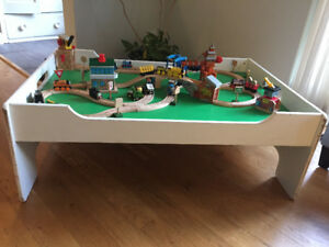 Thomas the Tank Engine various sets and wooden table