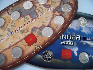 Millenium 2000 and 1999 Canadian coin set