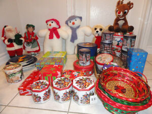 HOLIDAY GIFT TINS & BASKETS, DECORATIONS,  HOLIDAY DINNERWARE