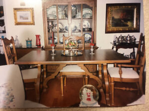 Dining Room Suite - table, 4 chairs including arm chair, cabinet