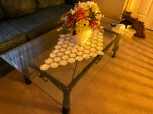 Wrought Iron and Glass coffee Table and End Table