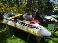 Sea Rogue 10ft Zodiac Style Boat with 4 HP Evinrude Outboard