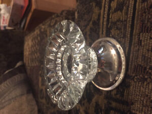 Glass and silver plates candle holders