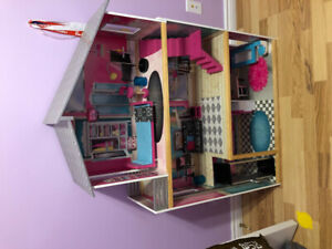 Barbie dolls and house