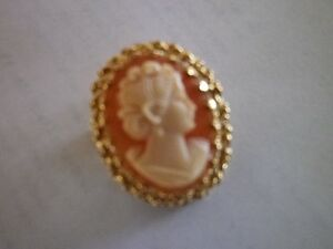 ***Beautiful Oval Cameo** surrounded by intricate 14K gold...
