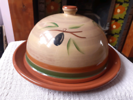 Large Handpainted Cheese Dome And Platter