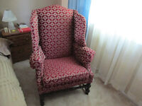 BEAUTIFUL ANTIQUE CHAIR, ROYAL UPHOLSTERY