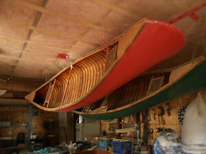 14' Red Cedar strip canvas covered canoe beautifully rebuilt