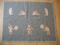 Beautiful Syllabic Signed Wool Duffle Blanket/ Hanging.