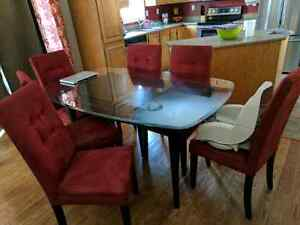 6 person dining table with chairs